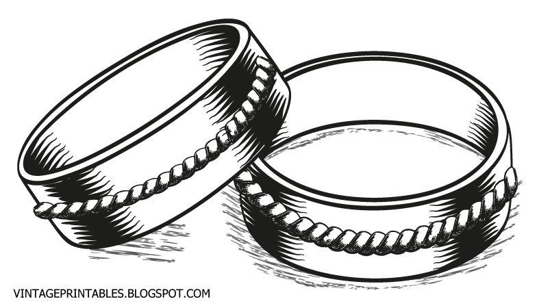 Free vintage clip art images: Vintage wedding rings clip art.