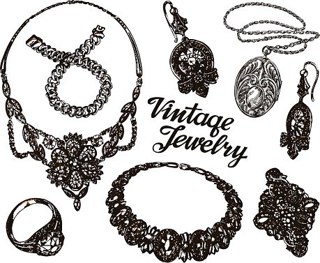 Collection vintage Jewelry. Gold and Precious Stones. Hand.