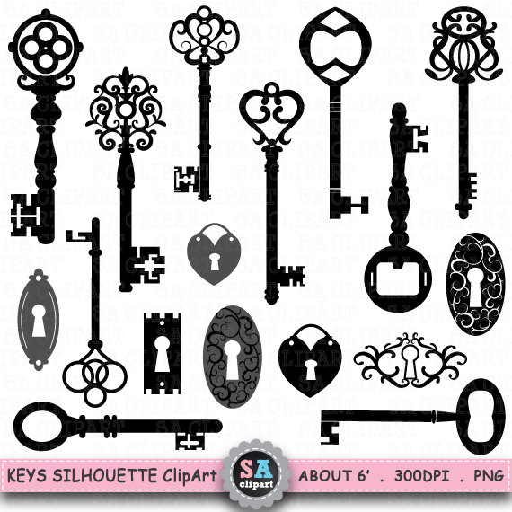 Keys clipart vintage key.