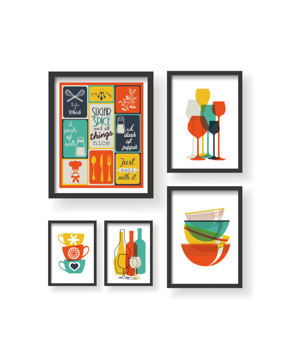 Colorful Dining room wall art.