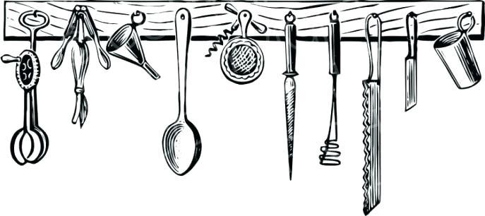 vintage kitchen utensils clipart.