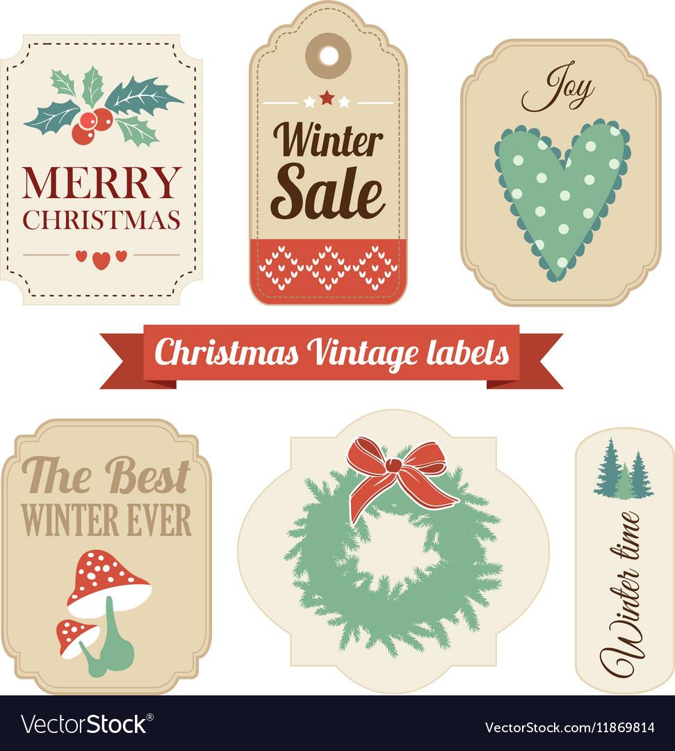 Retro set of christmas vintage gift sale labels.