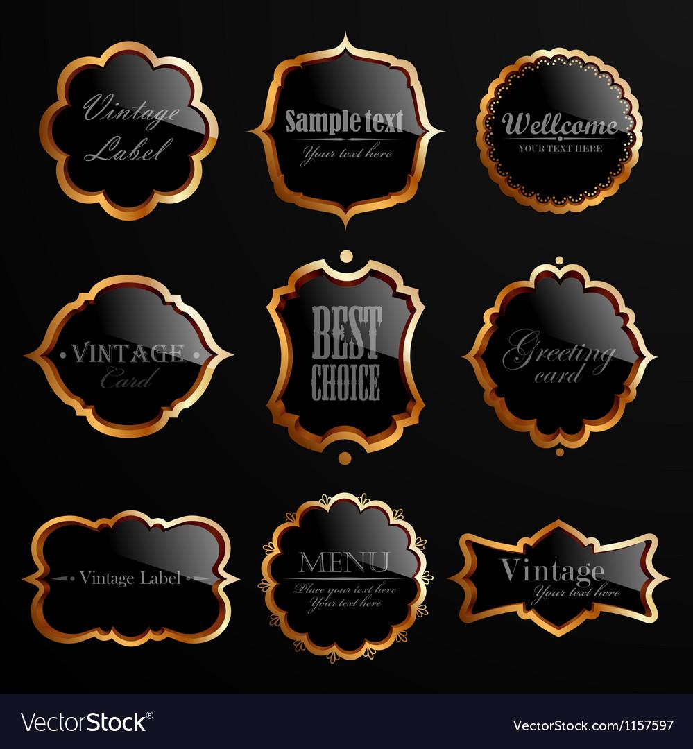 Set of black gold labels.