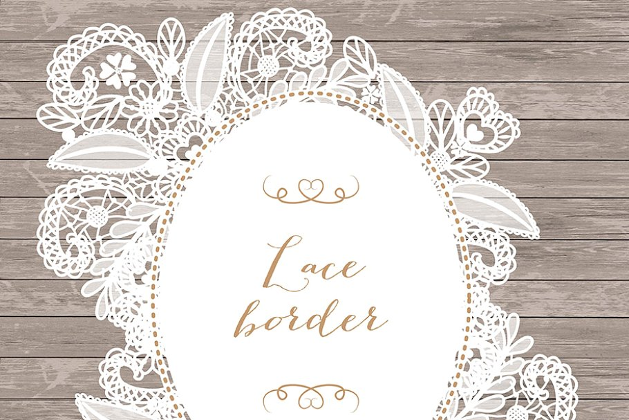 Vector floral lace frame.