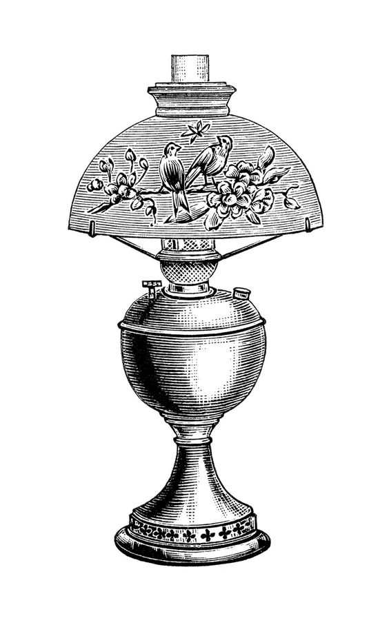 vintage lamp clip art, black and white clipart, Victorian lighting.
