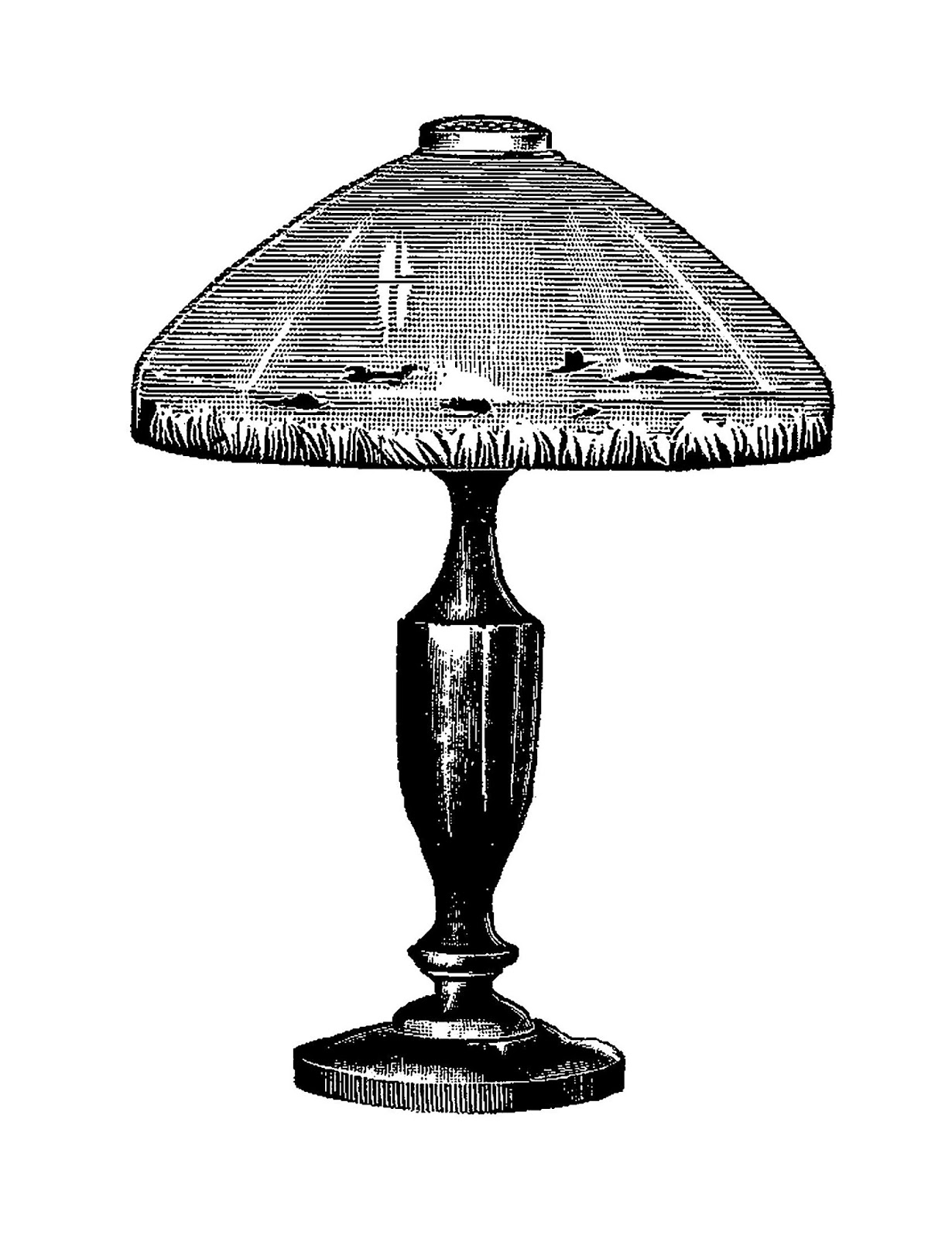Old Lamp And Table Clipart