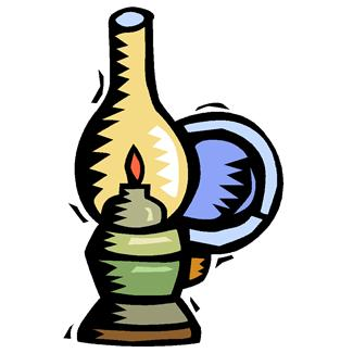 Old lamp and table clipart.