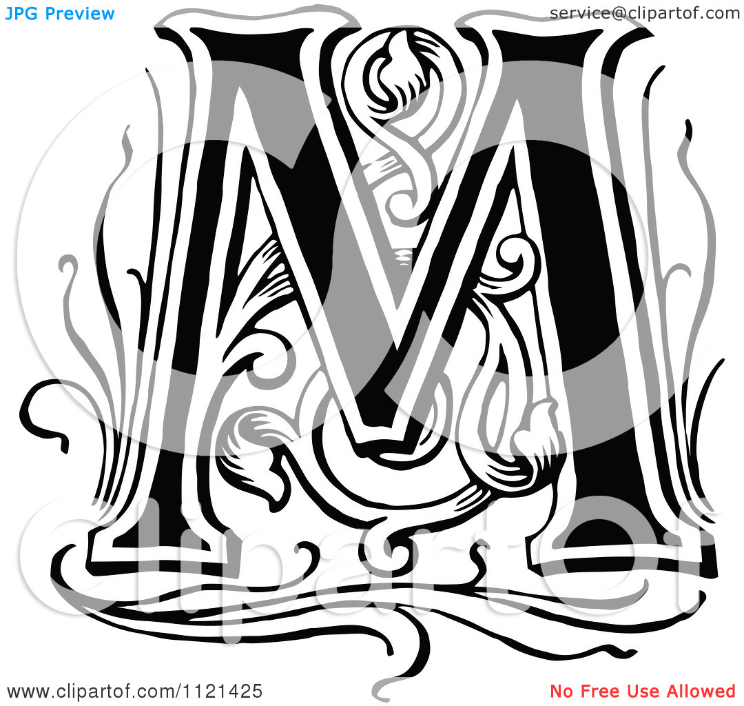 Tattoo Designs With Letter M: Vintage Letter M Clipart