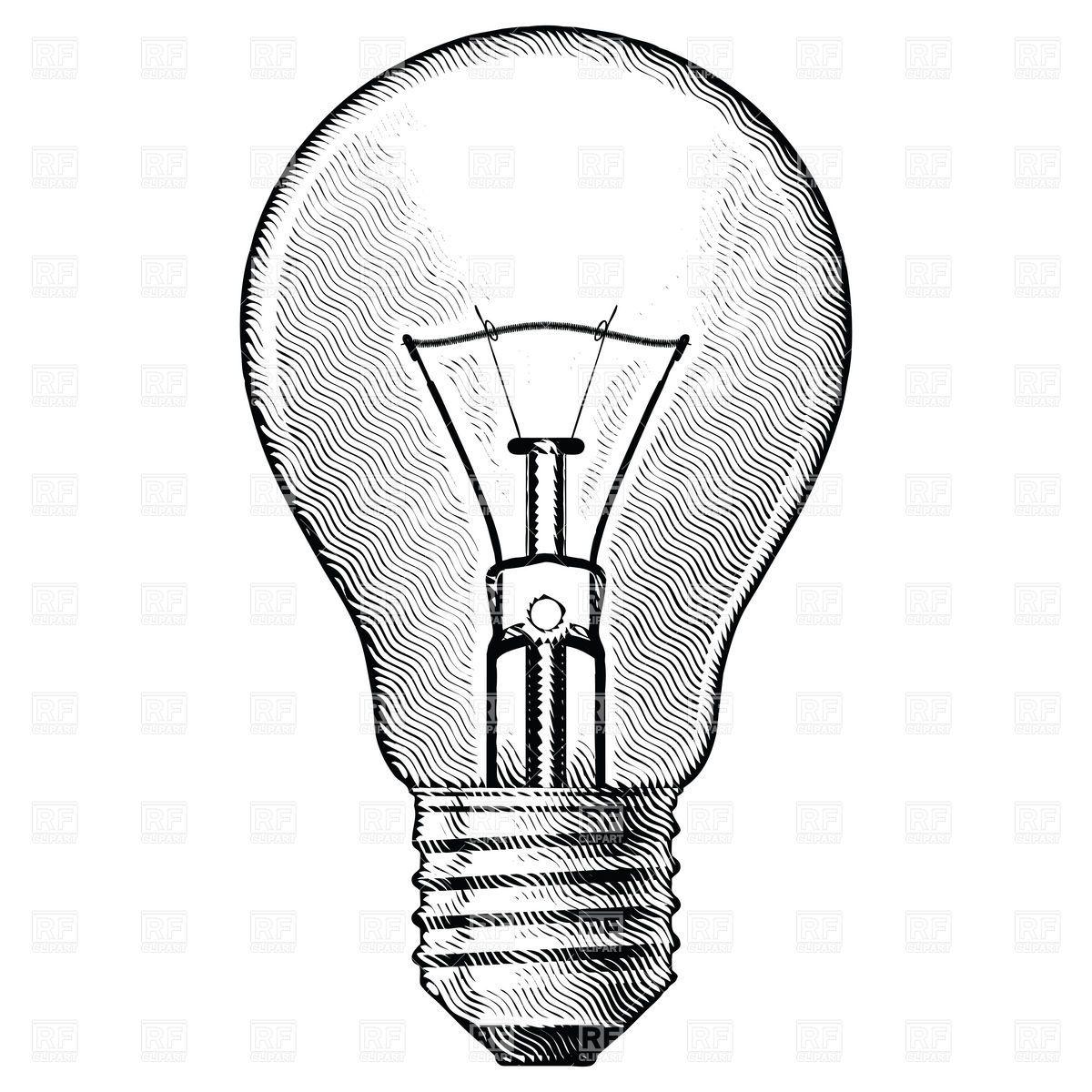 vintage light bulb drawing.