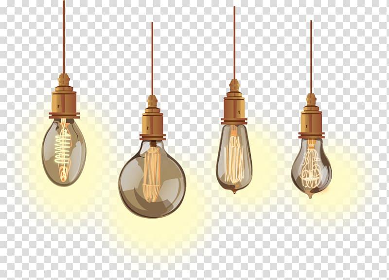 Four Edison light bulbs illustration, Incandescent light.