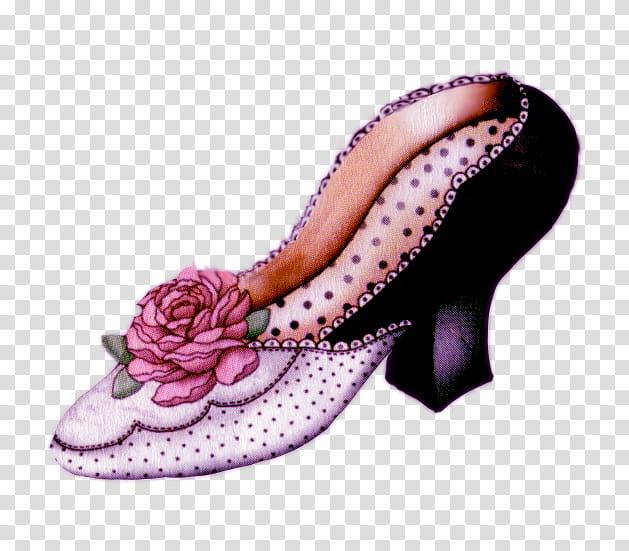 Vintage shoe, white and black shoe illustration transparent.