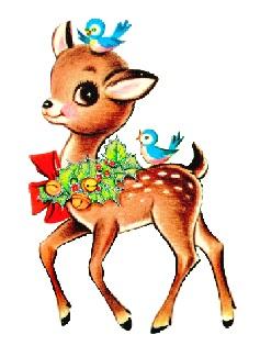 Free Vintage Christmas Reindeer clipart.