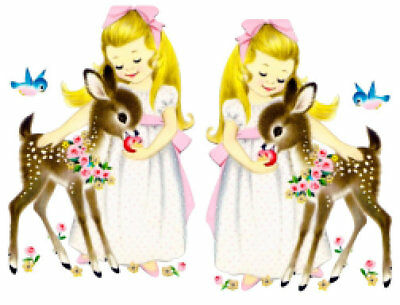VINTAGE IMAGE SHABBY Deer and Sleeping Bunny With Carrot.