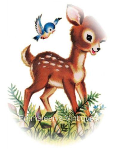 Vintage Shabby Nursery Baby Deer Fawn Waterslide Decals.