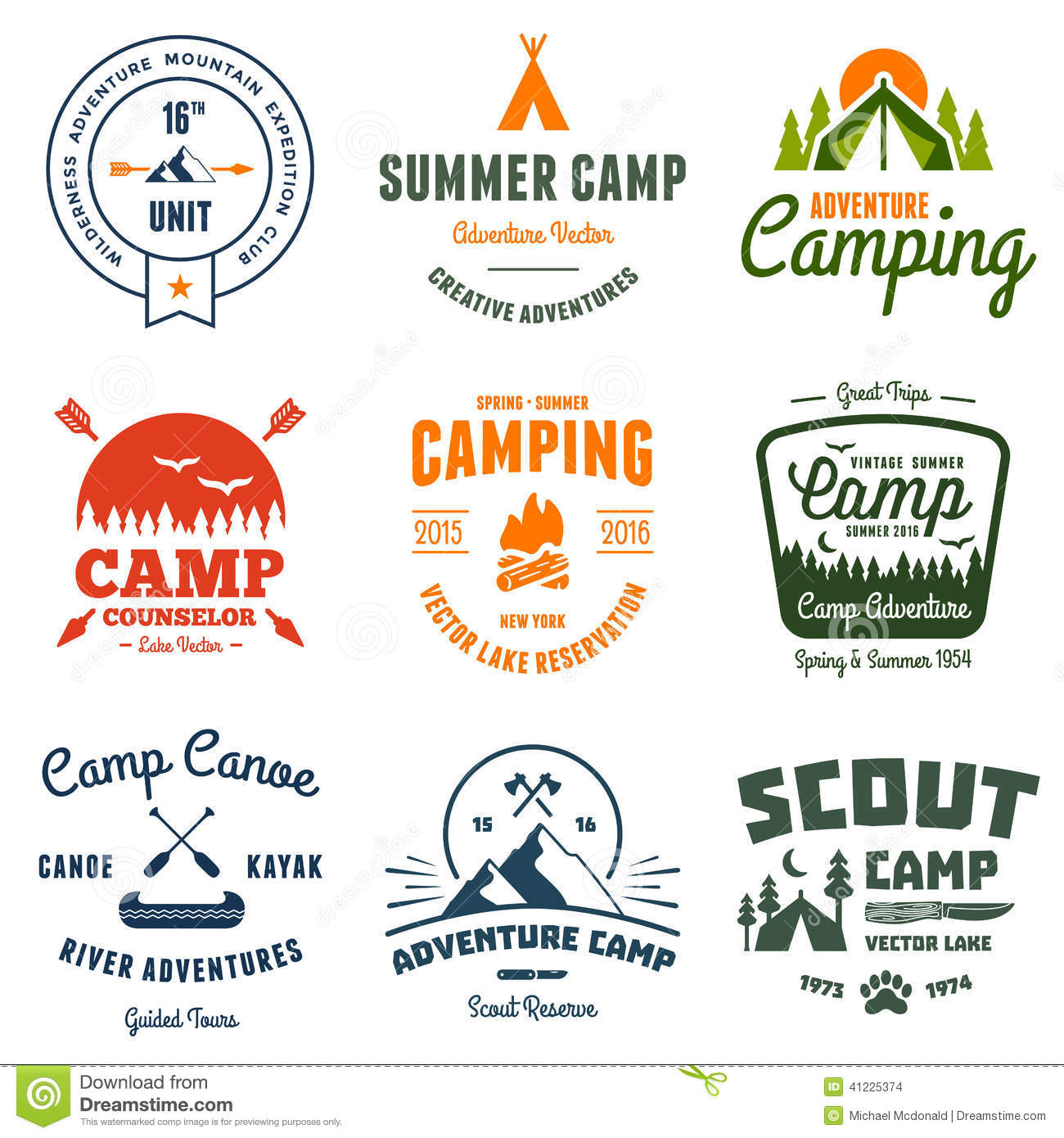 Vintage camp shirt logo clipart.