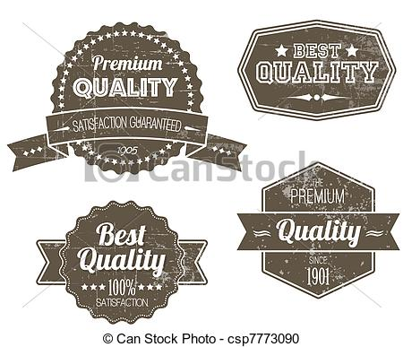 Vector Clipart of Old dark retro vintage grunge labels.