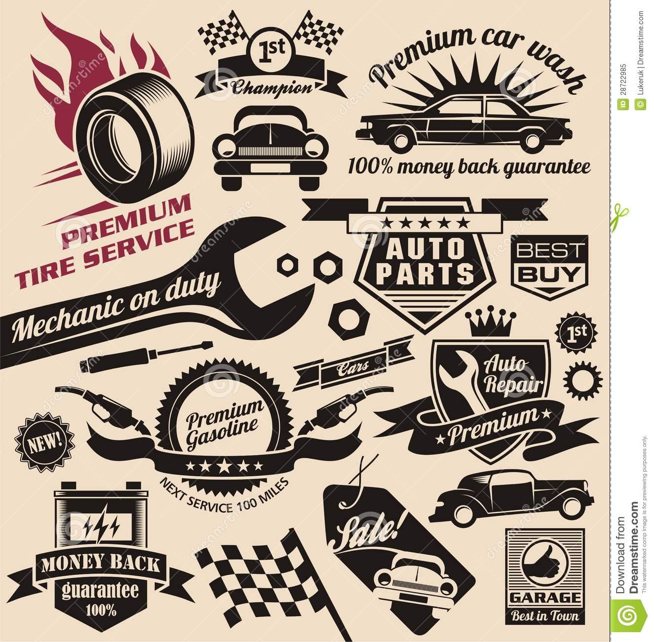 Vintage Car Logo Clipart.