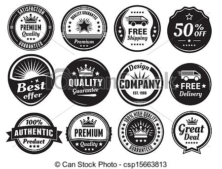 Vector Clip Art of Twelve Scalable Vintage Badges.