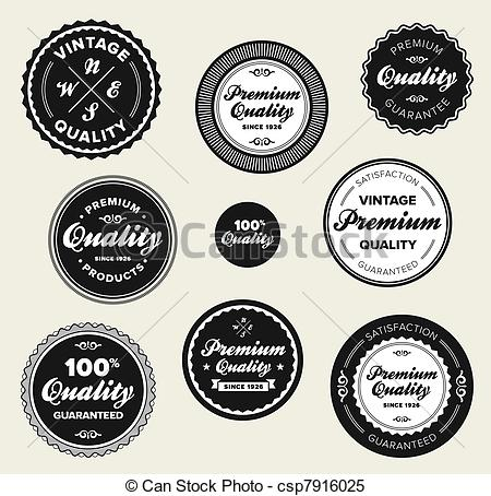 Clipart Vector of Vintage premium quality badges.