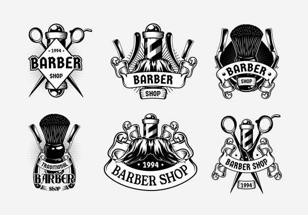Set barbershop vintage logo template Vector.