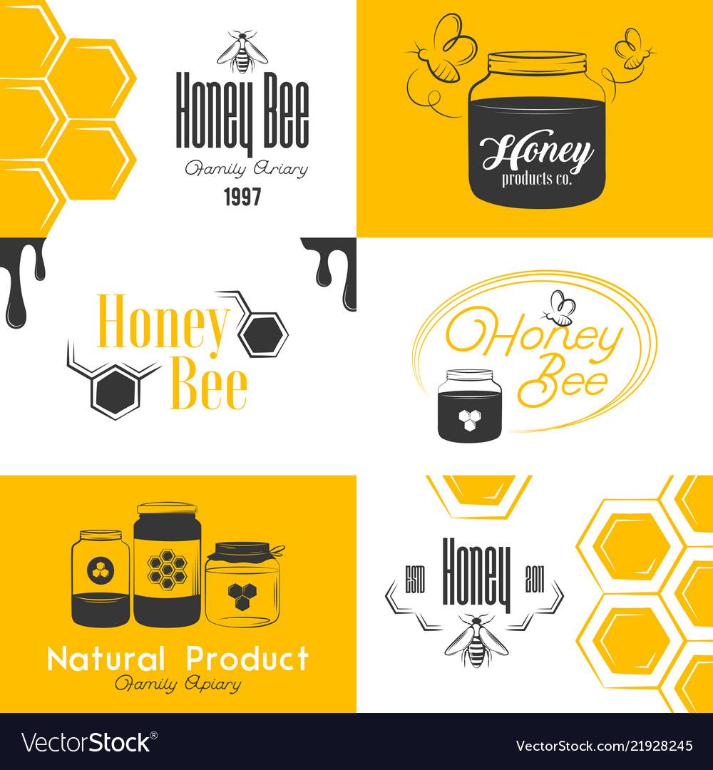 Honey vintage logo set.