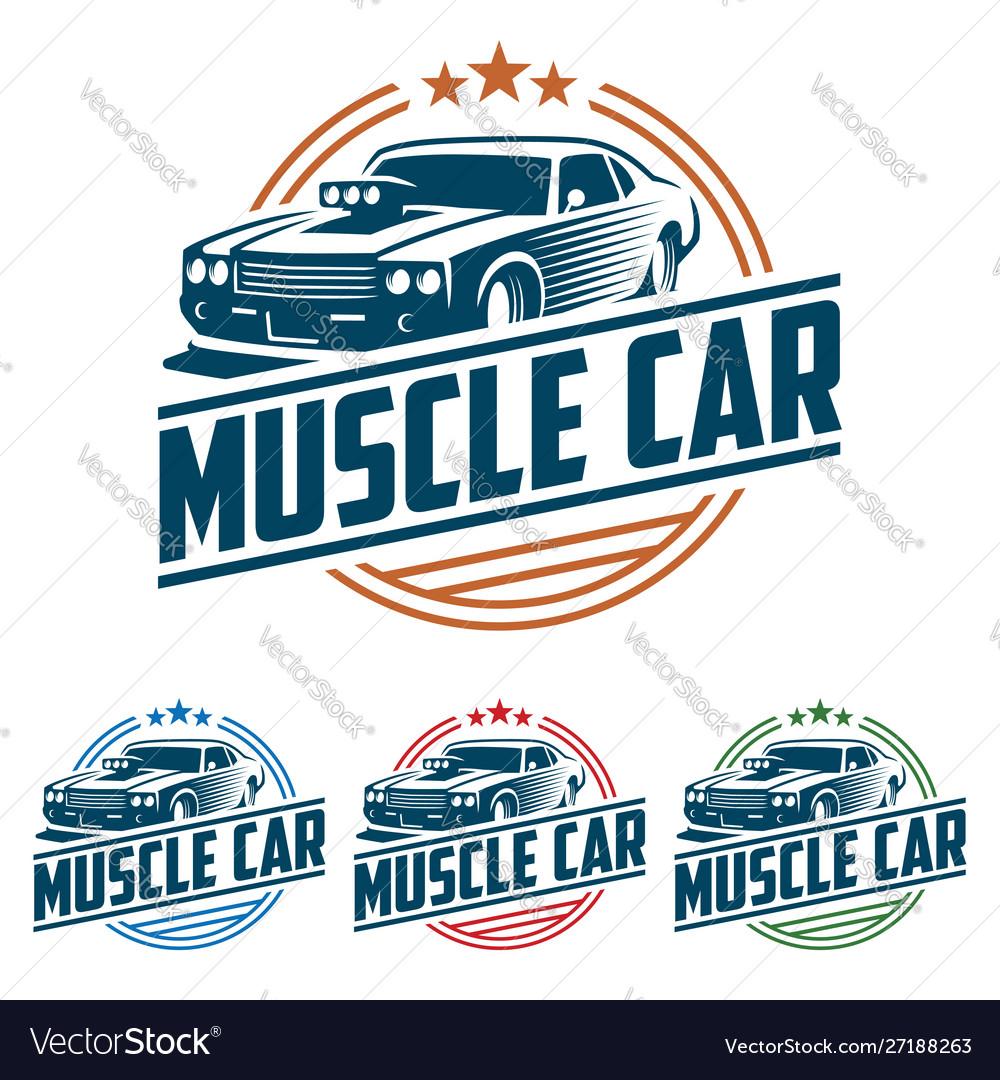 Muscle car logo retro logo style vintage logo.