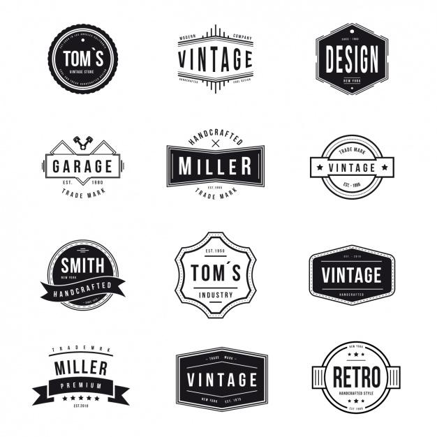 Vintage logos collection Vector.