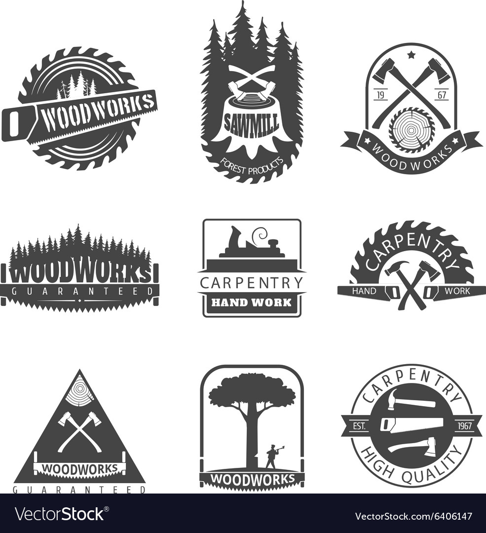 Carpentry sawmill and woodwork vintage logos.