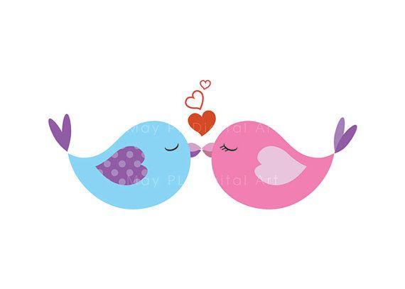 Vintage Love Bird Clip Art.