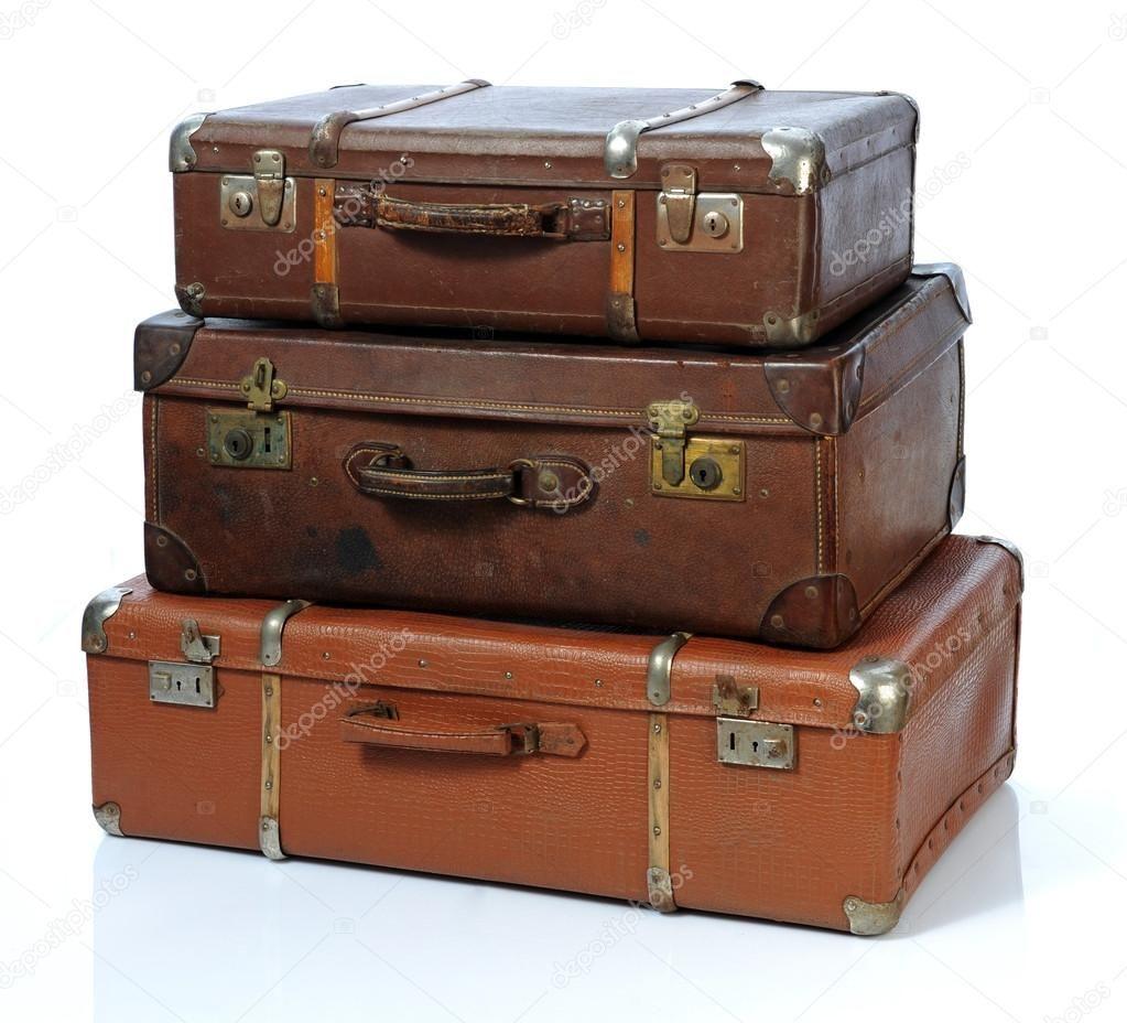 Vintage Open Suitcase Clip Art.