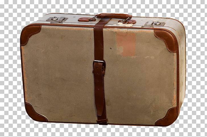 Vintage Luggage, brown softside luggage PNG clipart.