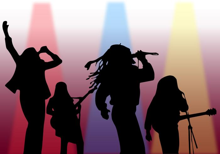 Silhouette Singer On Stage Vector.