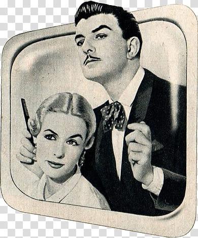 Vintage s, portrait of man and woman transparent background.