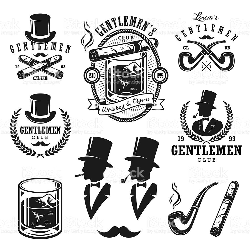 Set of vintage gentlemen emblems and elements royalty.
