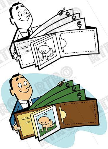 Man holding oversized wallet full of money vintage retro.