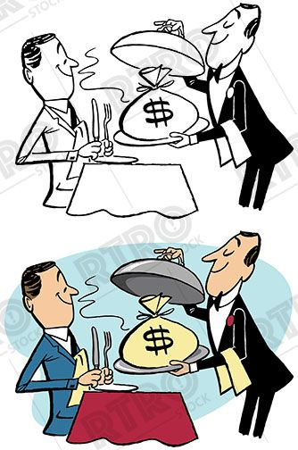 Man being served money on a silver platter vintage retro.