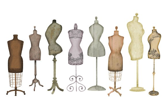 vintage mannequin dress clipart #1