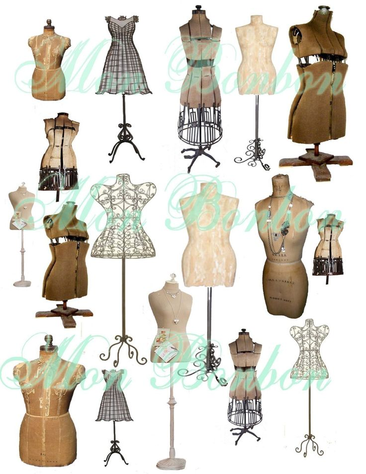 Collage Sheet of Vintage and Antique Dress Forms Mannequins.