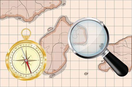 Old map, golden compass and magnifying glass Clipart Image.