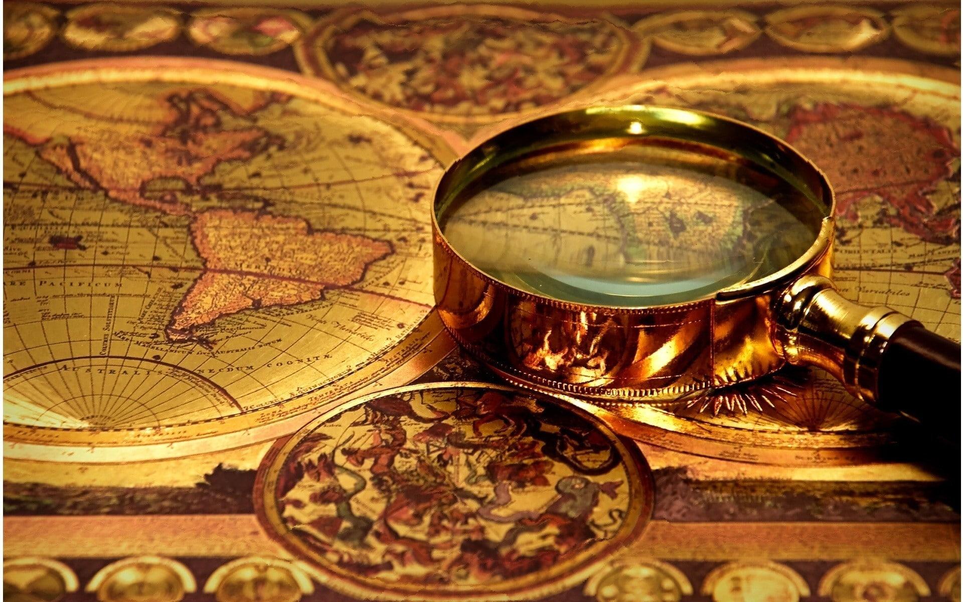 HD wallpaper: map magnifying glasses vintage, finance, close.