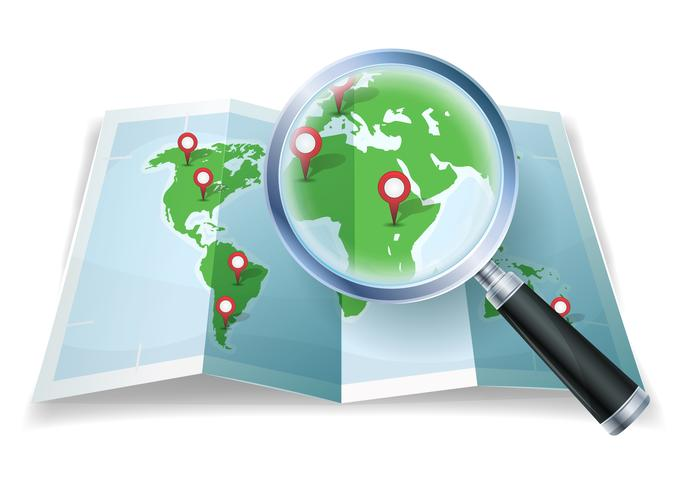 Magnifying Glass On World Map.