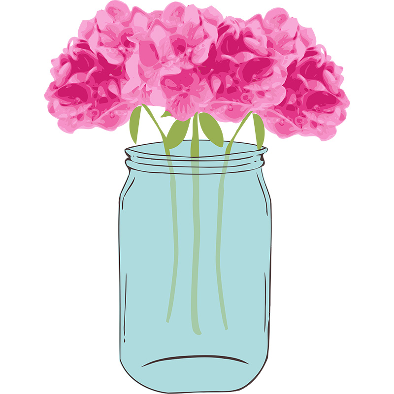 Mason jar pink roses free clipart.