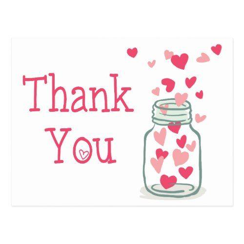 Thank You Pink Hearts Vintage Mason Jar Love Postcard.