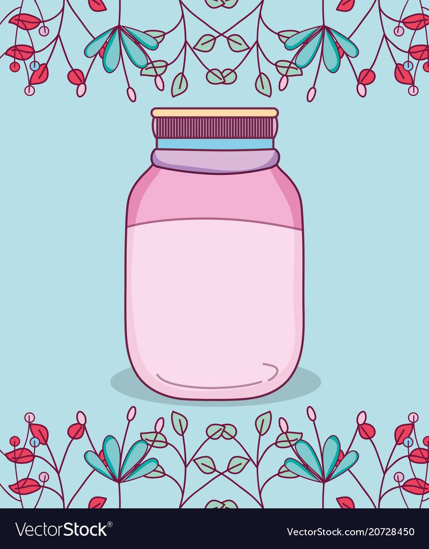 Mason jar with flowers.