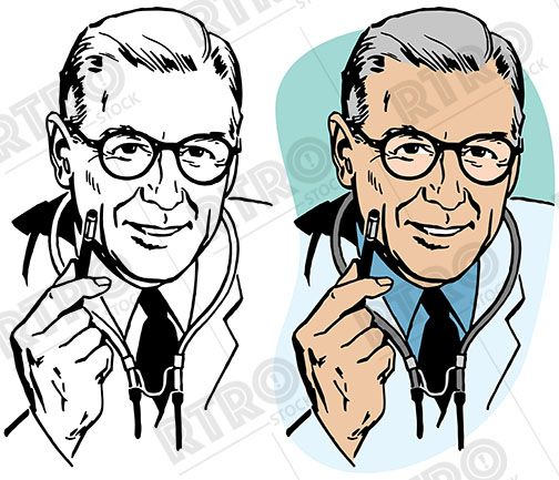 A portrait of a male doctor with a stethoscope vintage retro.