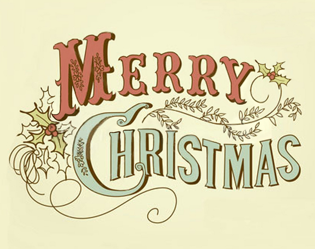 Merry christmas words vintage merry christmas clipart.