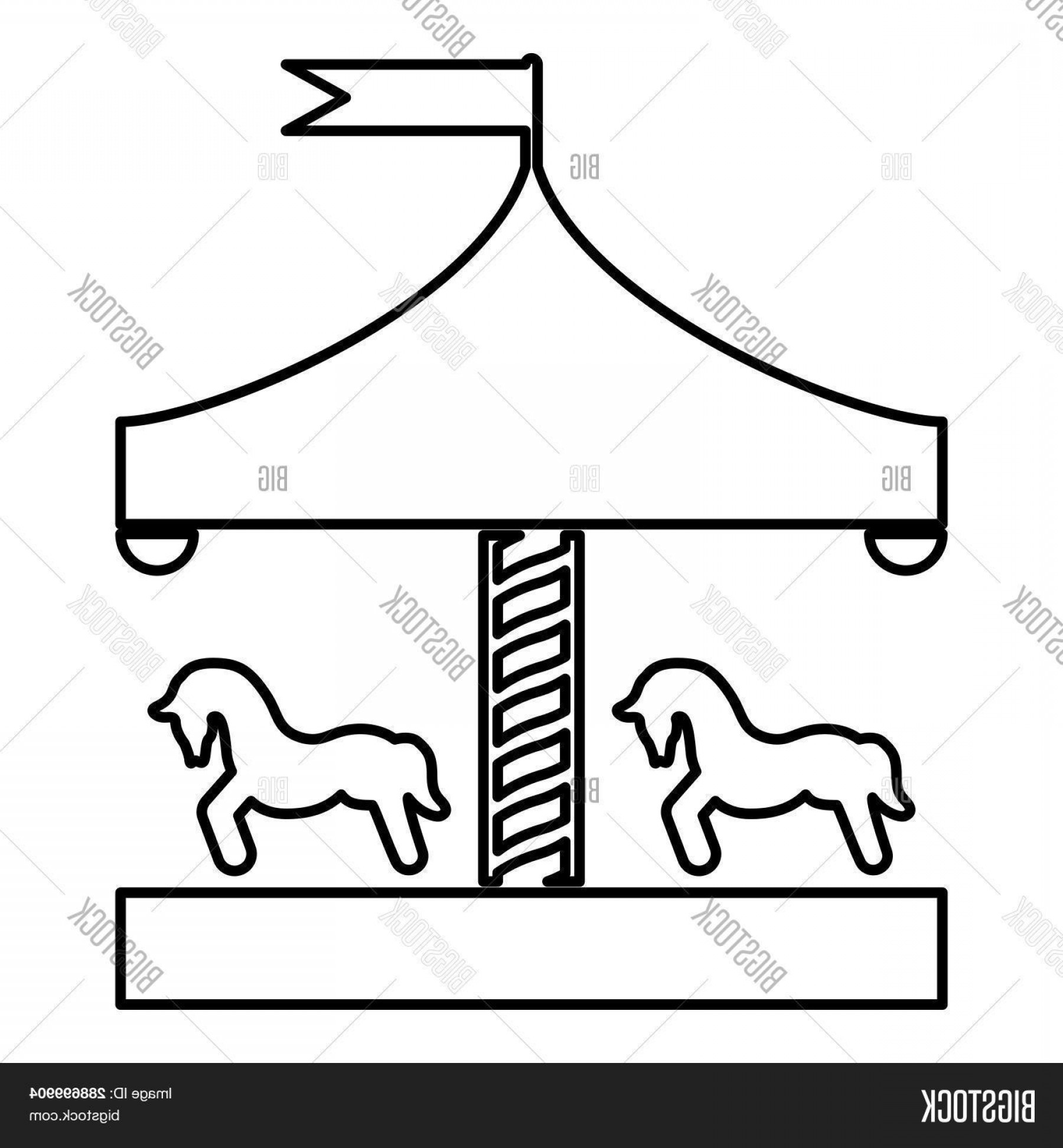 Stock Vector Carousel Roundabout Merry Go Round Vintage.