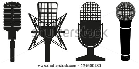 vintage mic silhouette clipart of black #20