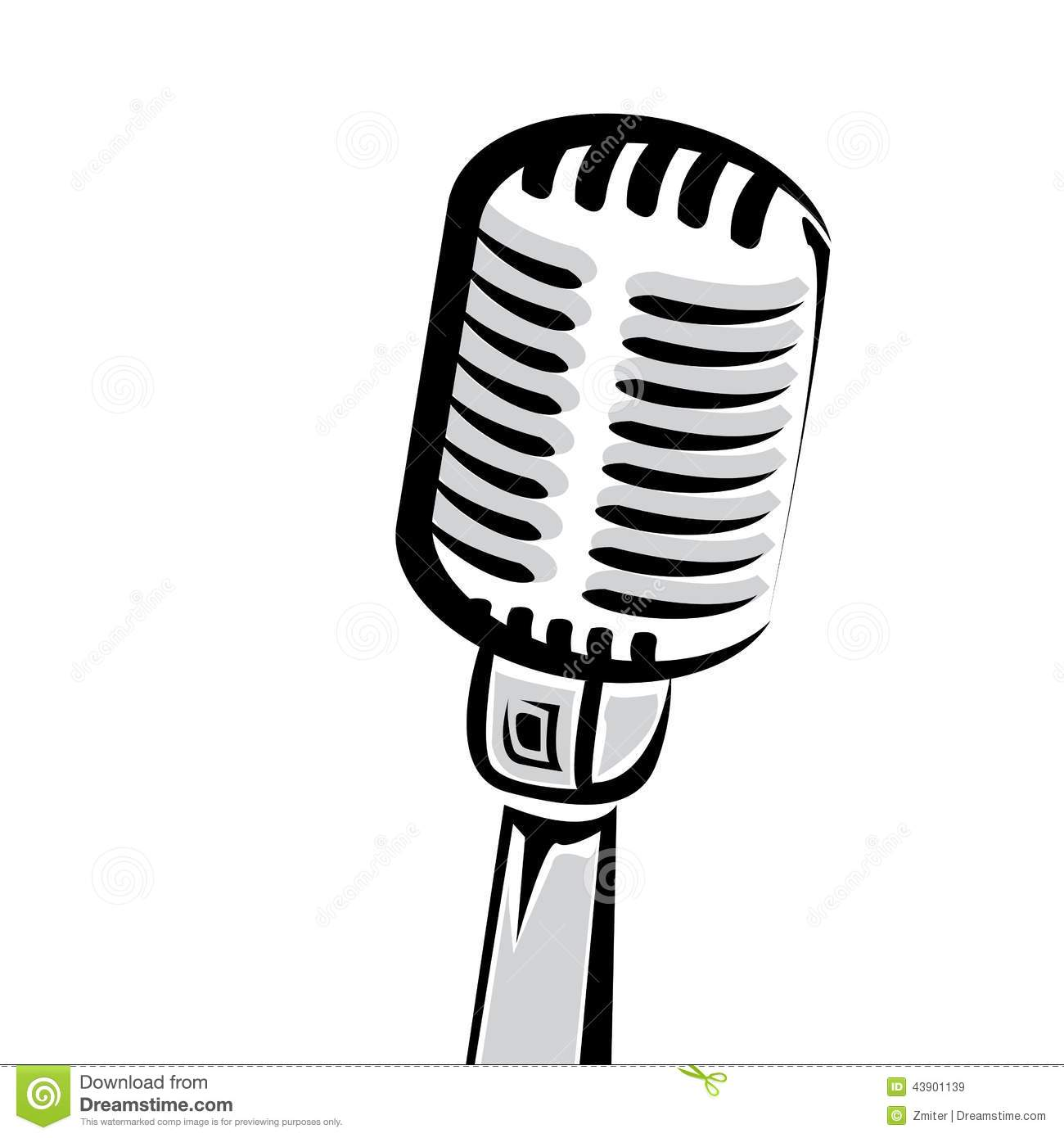 Retro Microphone Silhouette Vector Illustration Stock Vector.