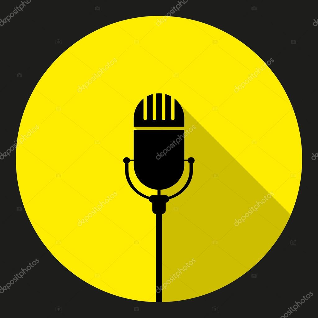 Vintage black silhouette retro stage microphone. web icon — Stock.